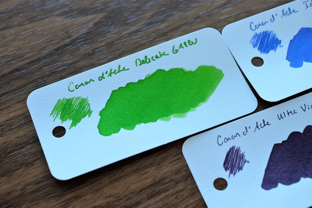My second-favorite was this grass-green color, which I used as an editing ink. The paper that I used for these ink swabs came from Ana Reinert's  Col-o-Ring Ink Testing Book !