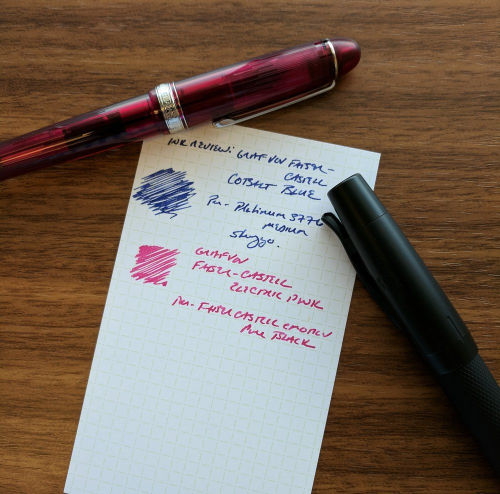 The GvFC Cobalt Blue was tested in my  Platinum 3776 Shungyo , with the GvFC Electric Pink tested in my  Faber-Castell e-Motion Pure Black edition .  Both pens have medium nibs.
