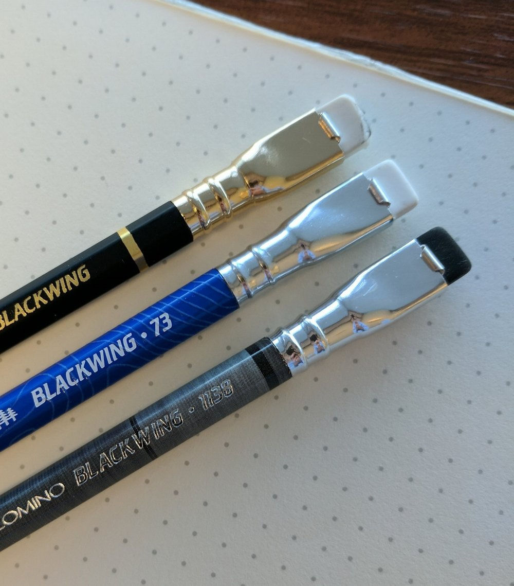 Blackwing's distinctive ferrule and square eraser.