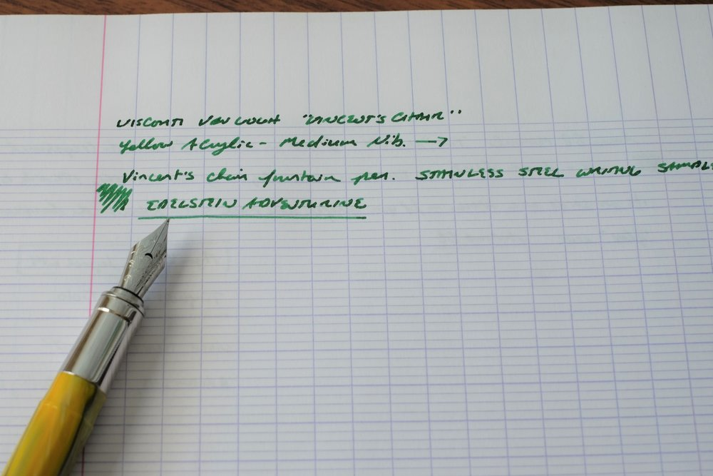 The stainless steel nib on the Van Gogh is quite attractive, with the crescent-shaped breather hole and scrollwork.