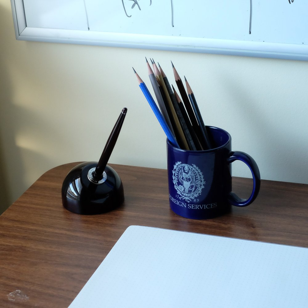 "I've been busy selling off pens and searching for that ""clean desk"" look again!"