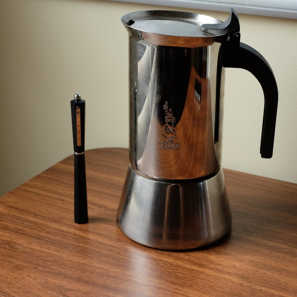 Coming soon to the blog -  the Giuliano Mazzuoli Moka , inspired by the classic design of the  Bialetti Moka pot . Couldn't resist breaking this one out for coffee time this morning.  (Purists/nerds will note that this is the Bialetti Venus, not  the original faceted design .)