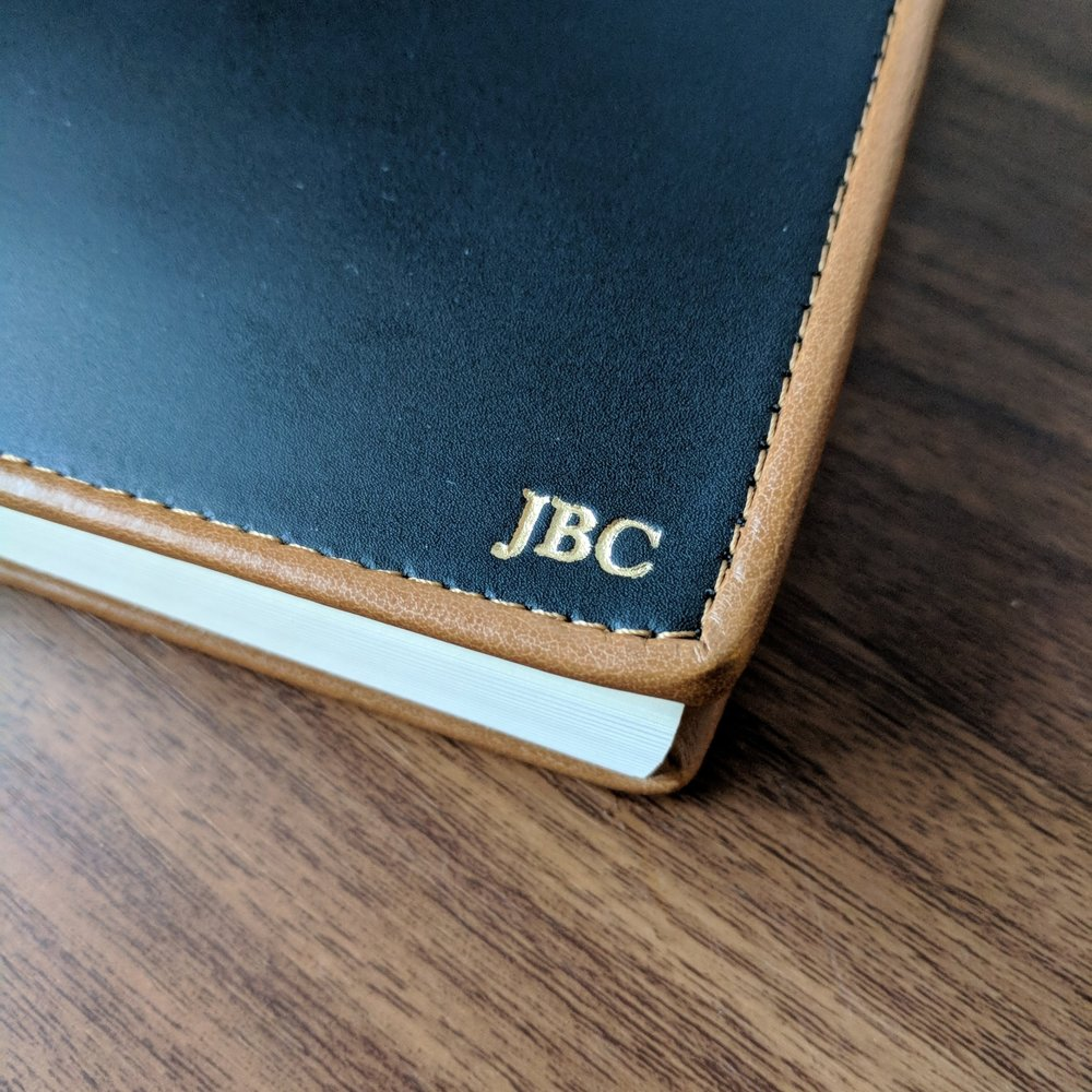 What drew me to the Cortona journal was the two-tone color scheme. I love the contrast between the black leather cover and the light brown edging and stitching. I opted to have my initials embossed on the cover, for which there is a slight upcharge.