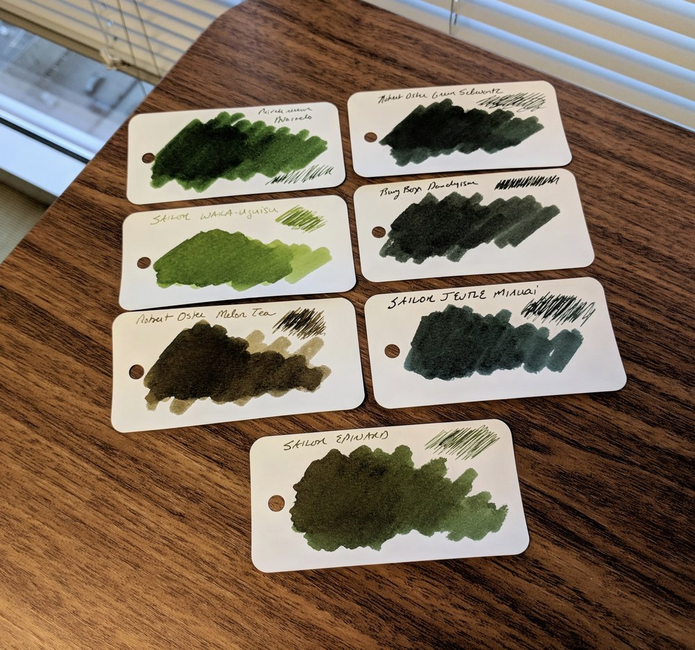 Six-Dark-Green-Inks