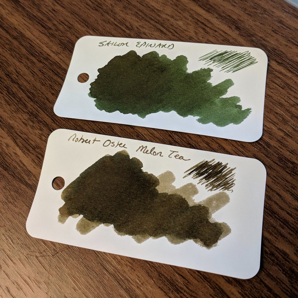 I'll go ahead and throw the spoiler out there: My favorite of all these inks is Sailor Jentle Epinard, and I also LOVE Robert Oster Signature Melon Tea, even though it's more of an olive/khaki brown. The sample doesn't really show it, but Epinard has some nice reddish sheen in a wet nib.