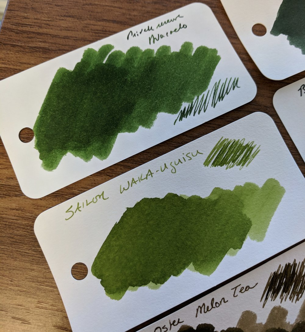 I was surprised at the brightness/yellow hue to the Avacado. Granted, when you write with it, it lays down a darker line, but in the swab it really is more of a saturated dark green than a true green-black.