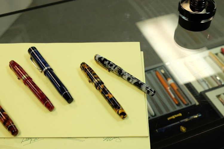 A handful of reissued Conway Stewart Pens, from left: Winston in Classic  Brown ;