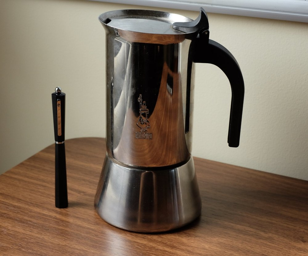 """Consistent with how much coffee I drink (""""too much""""), I don't have the  smaller, faceted version of the Bialetti  that inspired the pen. I own  the larger ten-cup model , pictured here."""