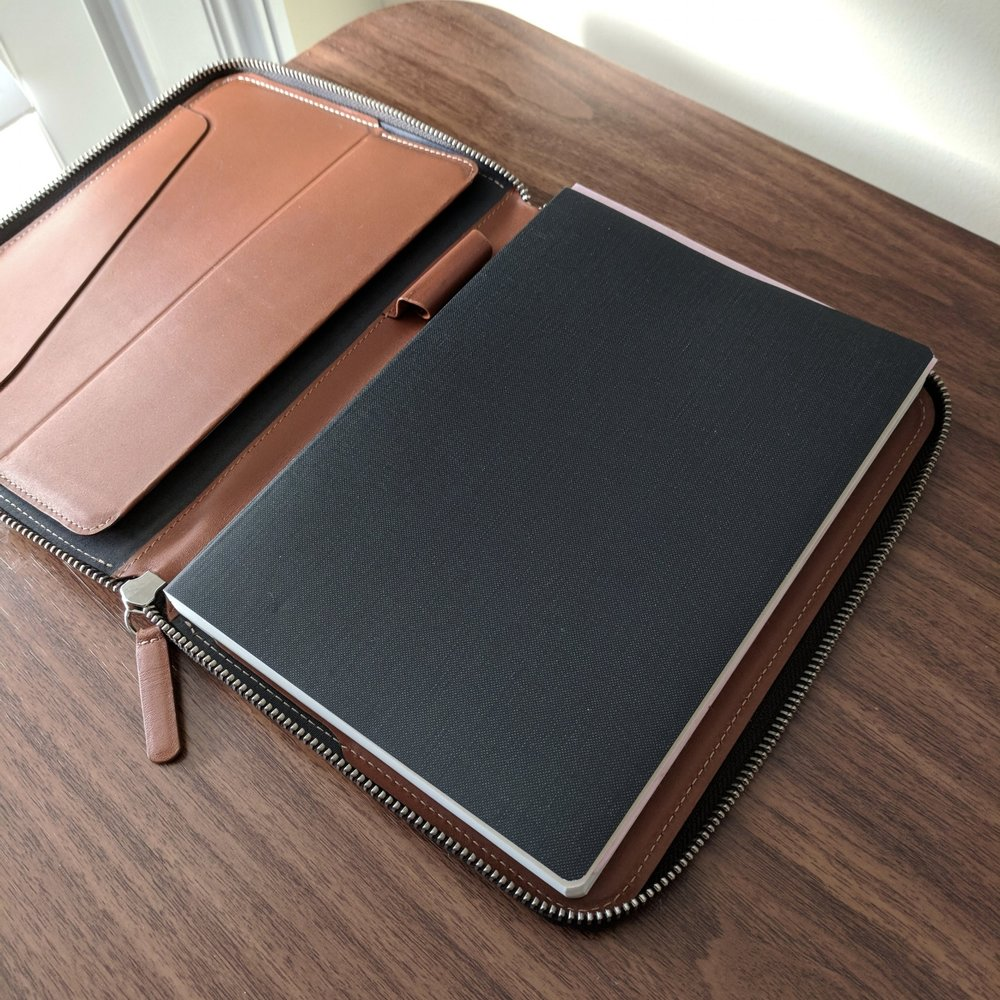 The Bellroy Work Folio A5, shown here with the Nanami Seven Seas Writer.