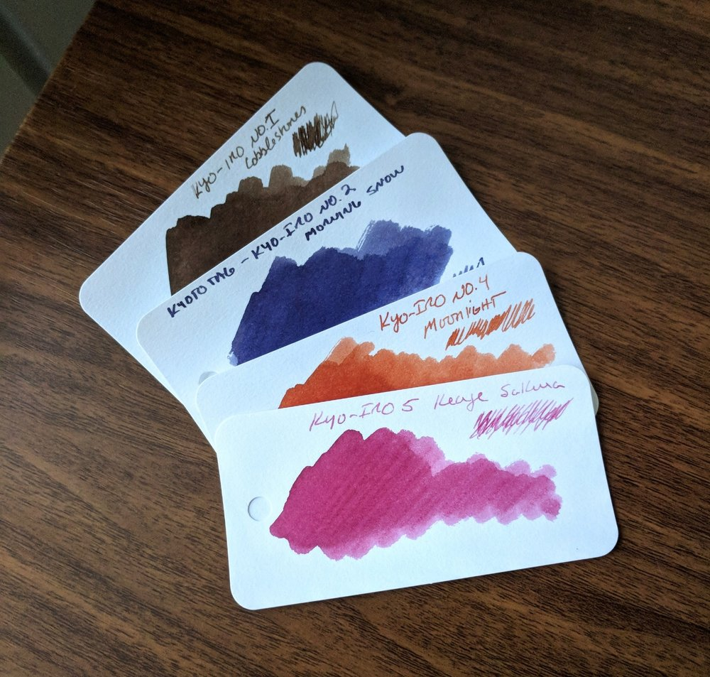 Swabs of the four Kyo-iro Inks from Kyoto TAG