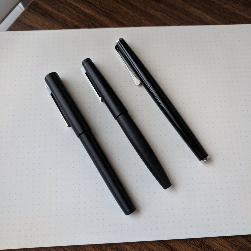 Three Lamy Pens (from left): the Aion, the  Lamy 2000 , and  the Studio .  Links are to prior reviews I did of the other two pens.