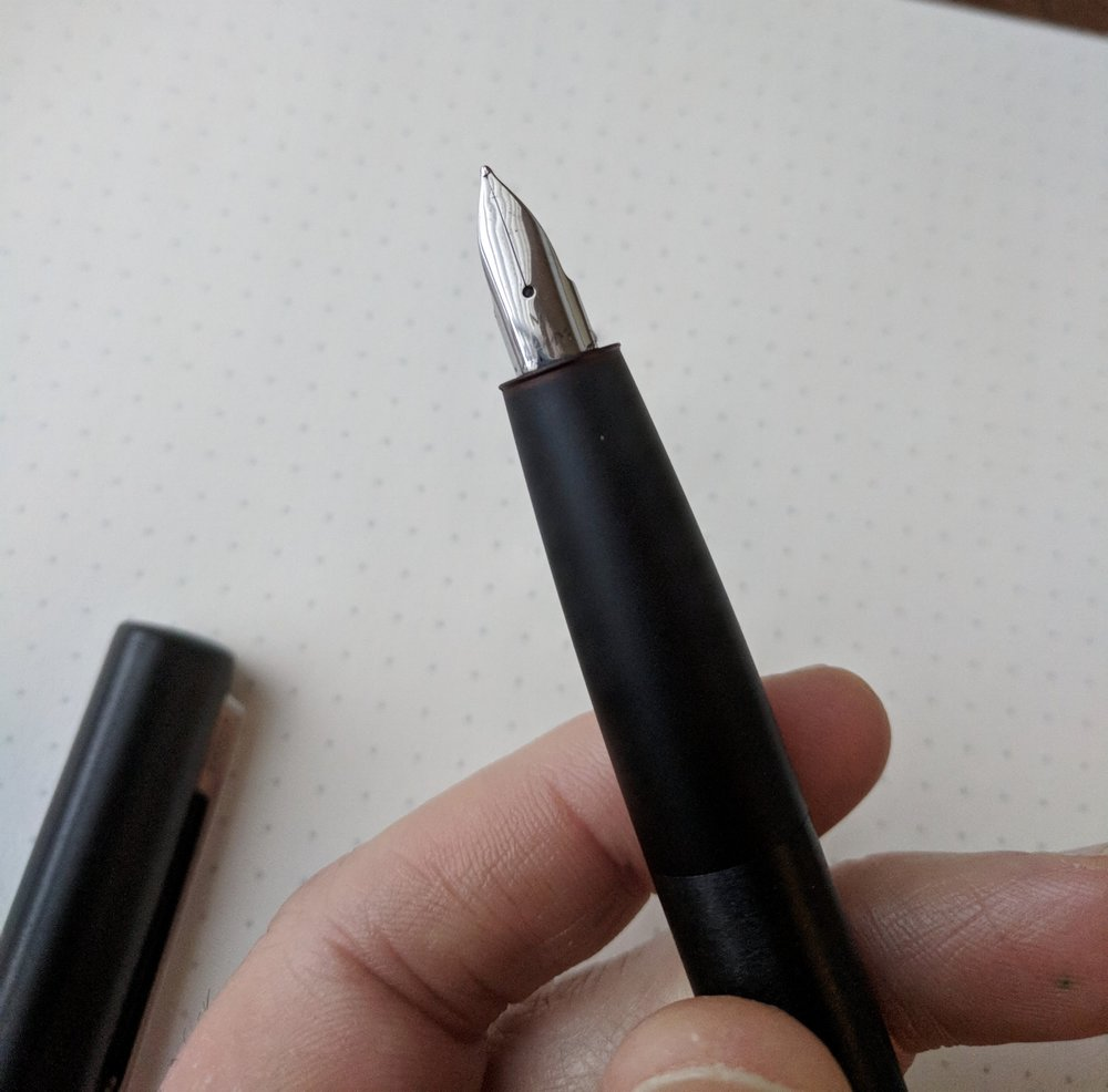 "Note the rounded look on the Aion's stainless steel nib, which many have compared to the nibs on Montblanc's  ""M"" series  and  ""Starwalker"" pens ."