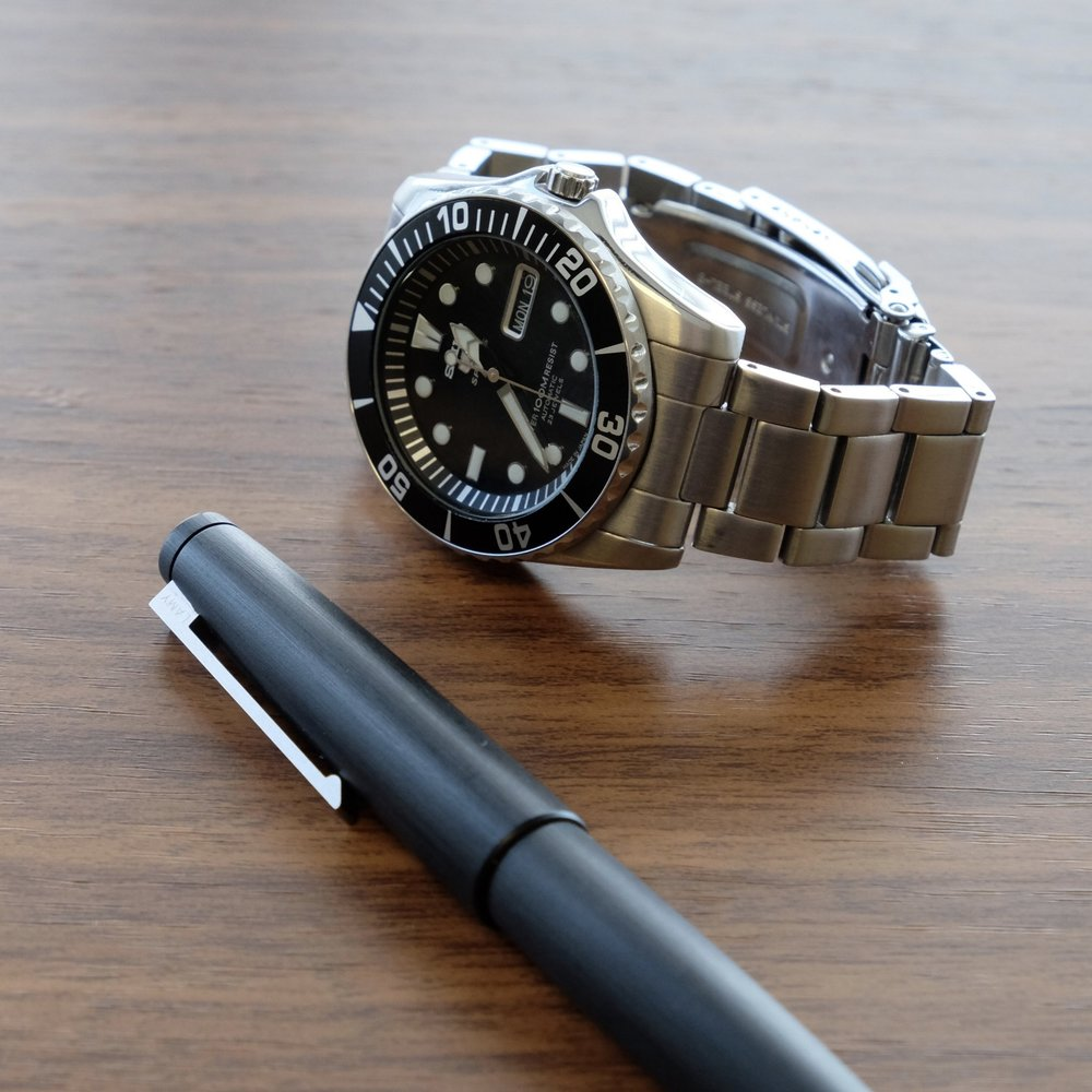 """The Lamy 2000 along with another great daily workhorse, the  Seiko SNZF17J1 """"Sea Urchin"""" ."""