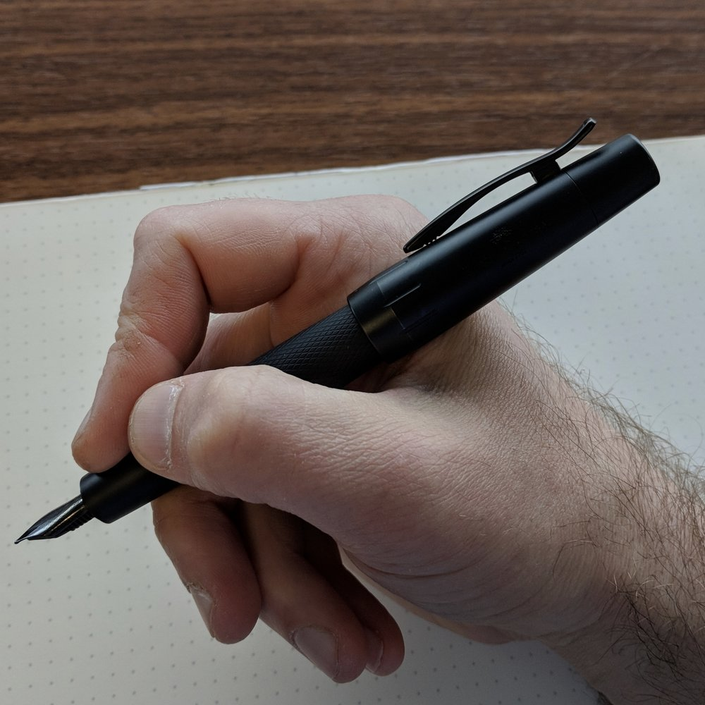 Despite it's weight, I prefer to use the E-Motion posted. Another selling point on this pen is the clip. The lever-action is tight and easy to use, and the pen will clip on to basically anything.