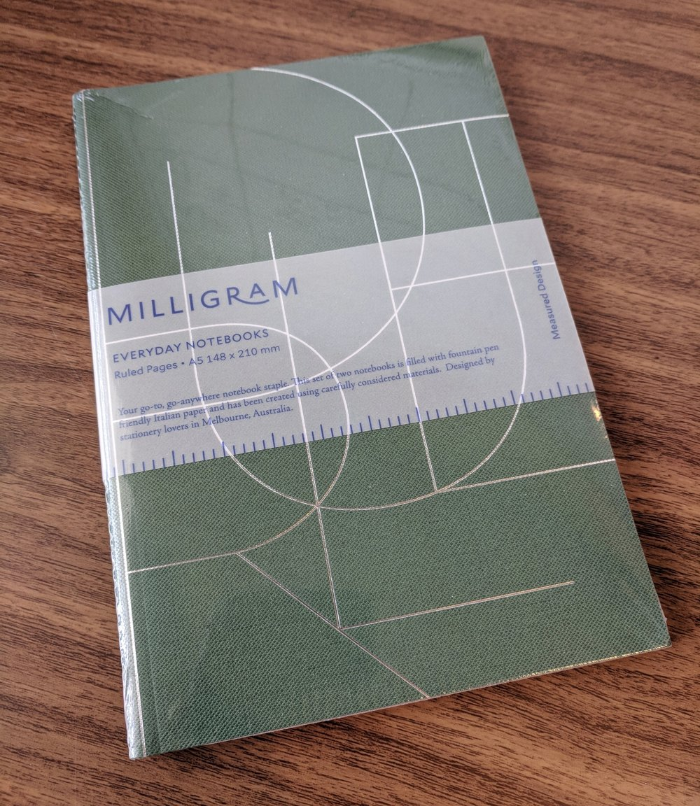 Milligram Studio notebooks are shipped in minimal packaging, two books to a pack.
