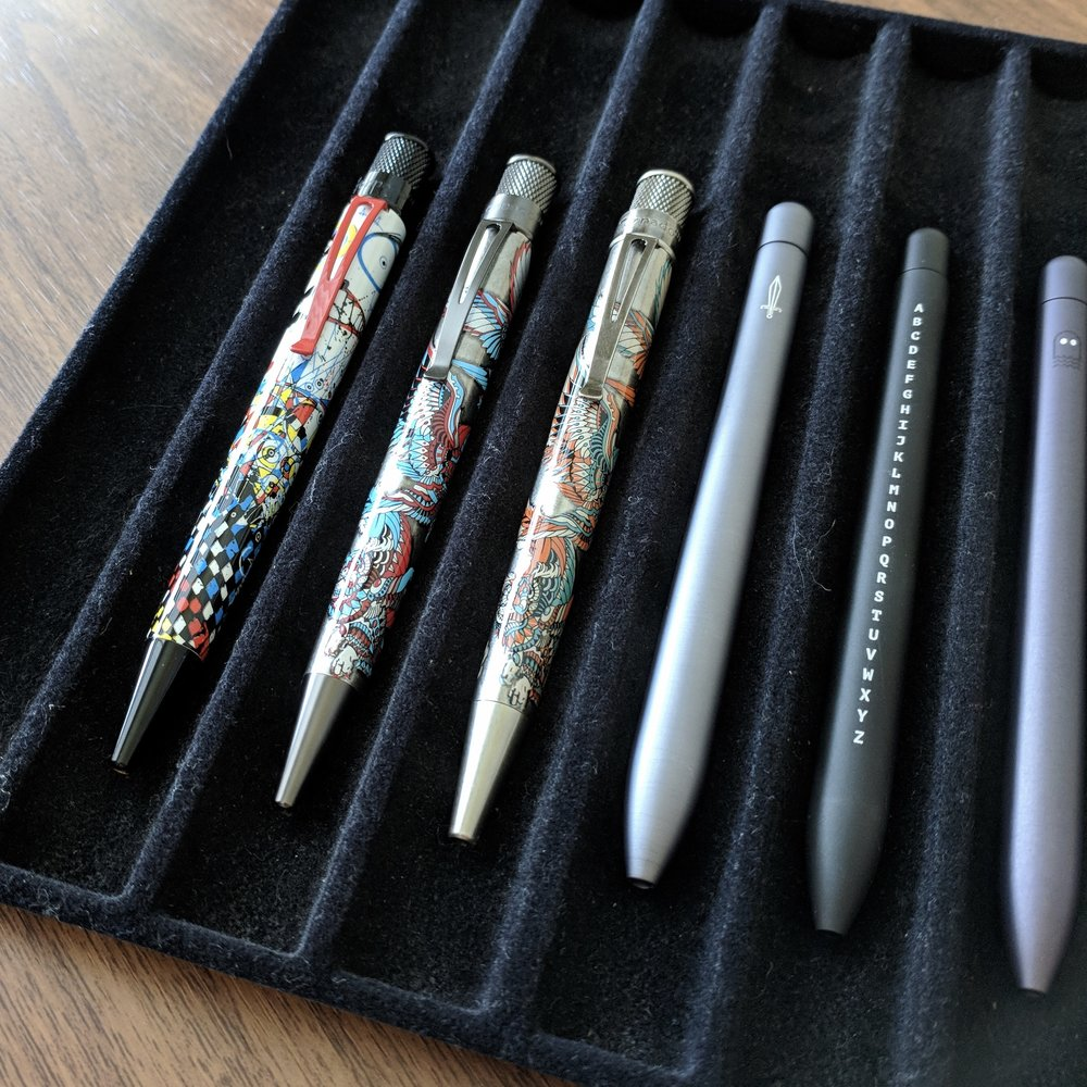 The first pen from the left is the Retro 51 Tornado Joey Feldman Artist Series from Vanness Pens. The next two from left are the Bioworkz Artist Series set, also from Vanness, though both have long been out of stock. Check the secondary market if you're interested in either design.