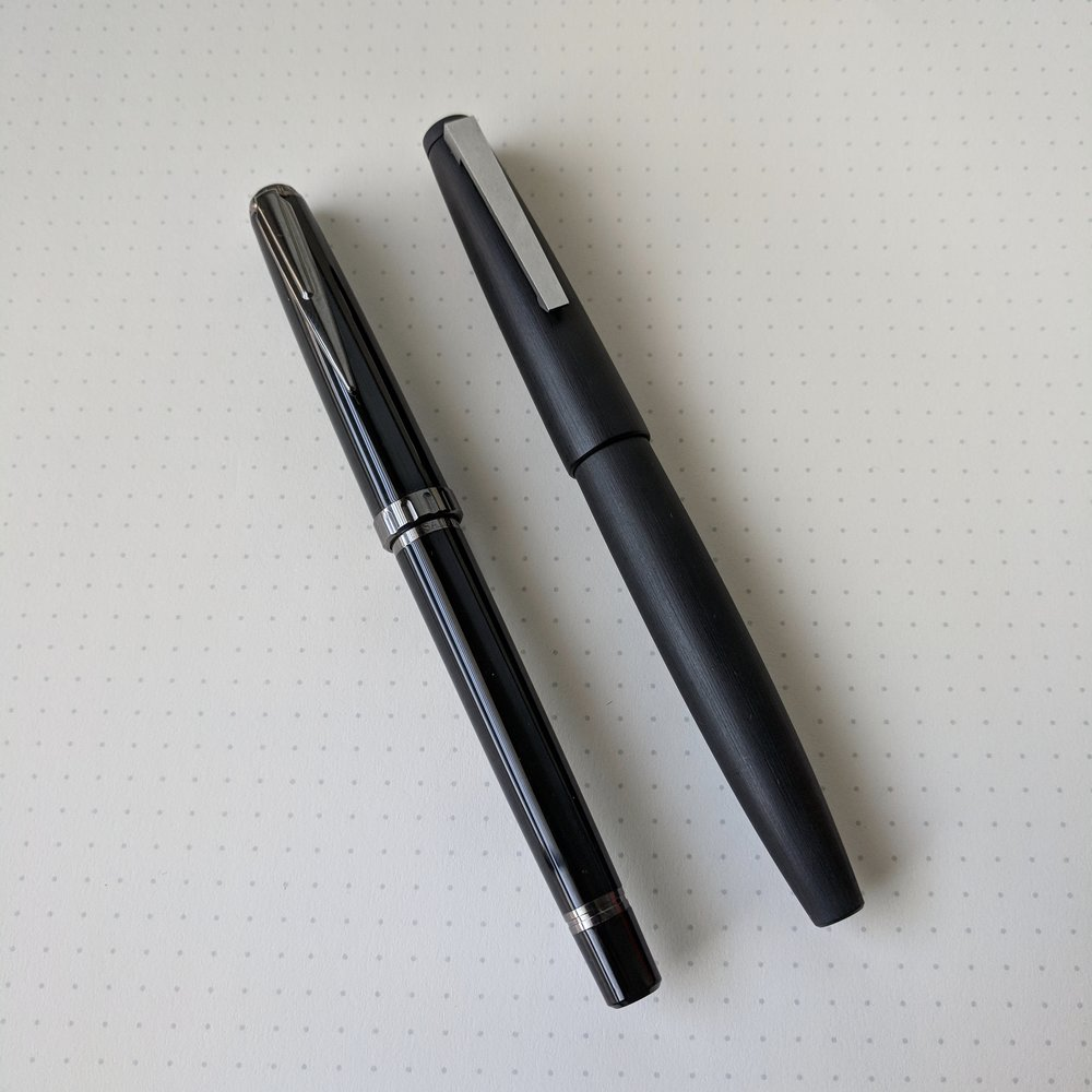 Sailor Reglus Night Black Compared Against Lamy 2000