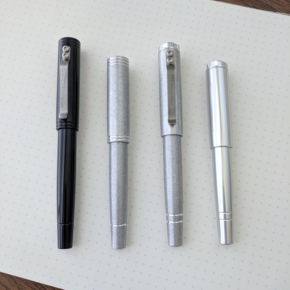 "From left, the upcoming ""Reaktor"" Pens: Starliner XL fountain pen, Starliner pocket fountain pen, Galaxie XL rollerball/gel, and Galaxie ballpoint"