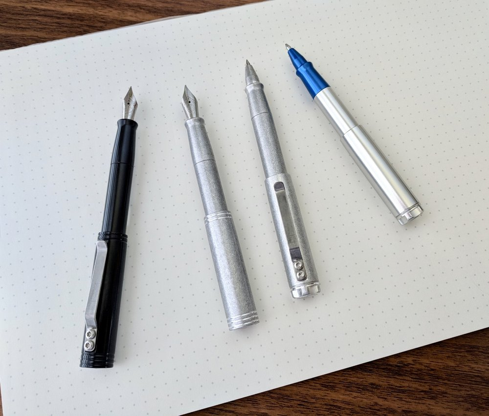 The pens will be available in a smaller range of color options than the typical Karas pens. Options will include black, tumbled aluminum, polished aluminum, and polished aluminum with red or blue anodized sections.
