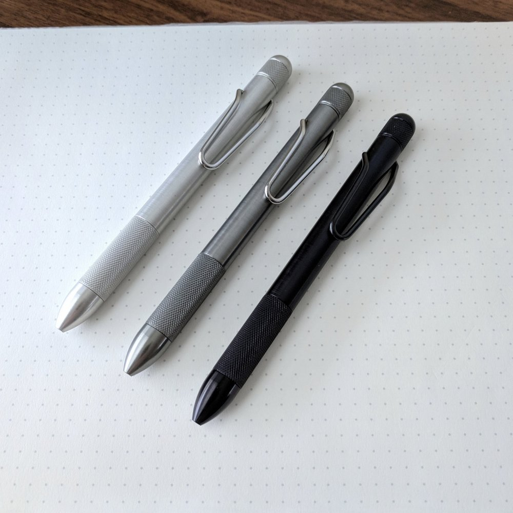 The RIIND pen comes in three different finishes: aluminum, gray, and black.