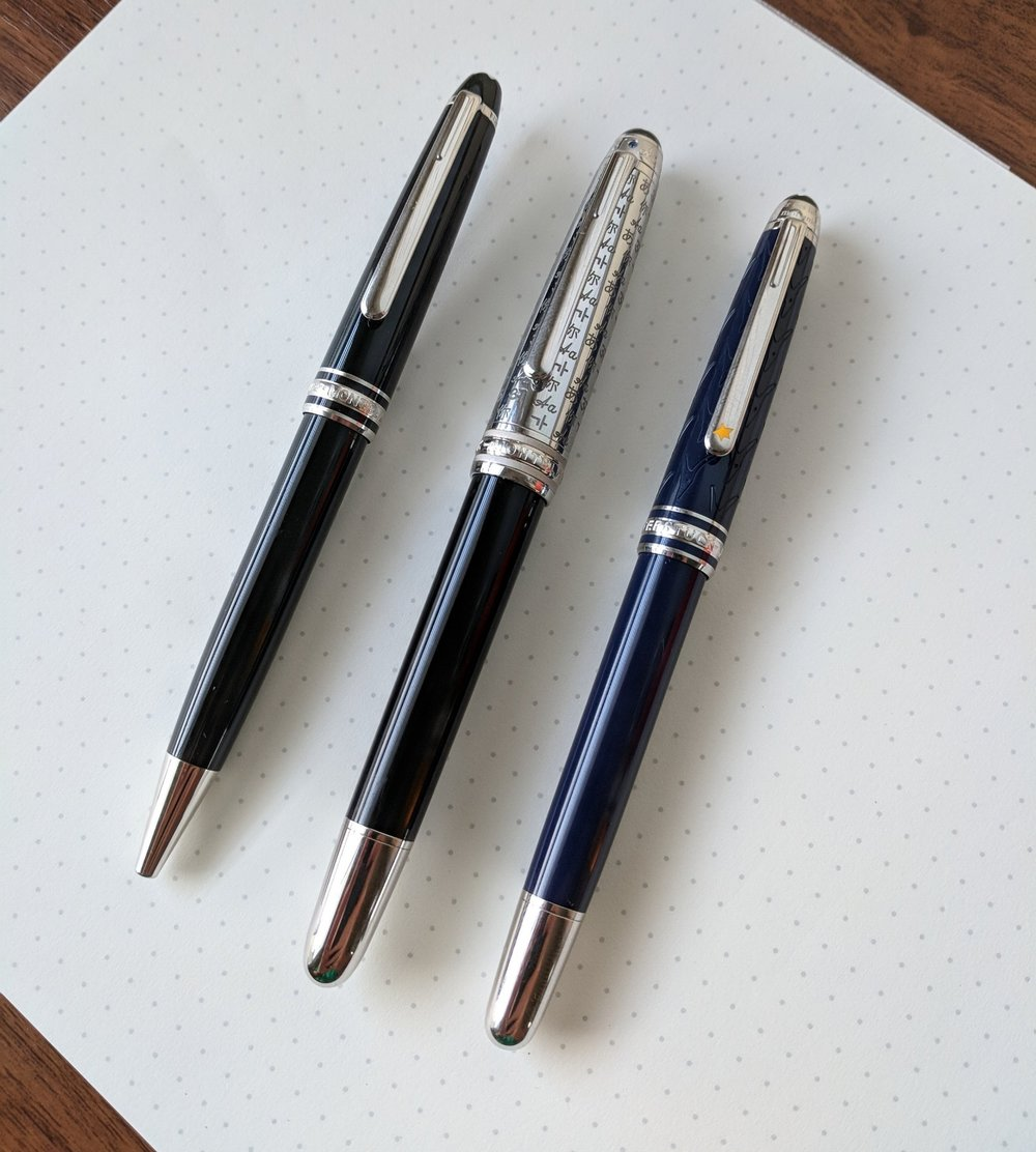 "Comparison shot: Ballpoint, Fountain Pen (in the metal ""Doue"" model), and Rollerball. The fountain pen has a slightly larger diameter than the other two."