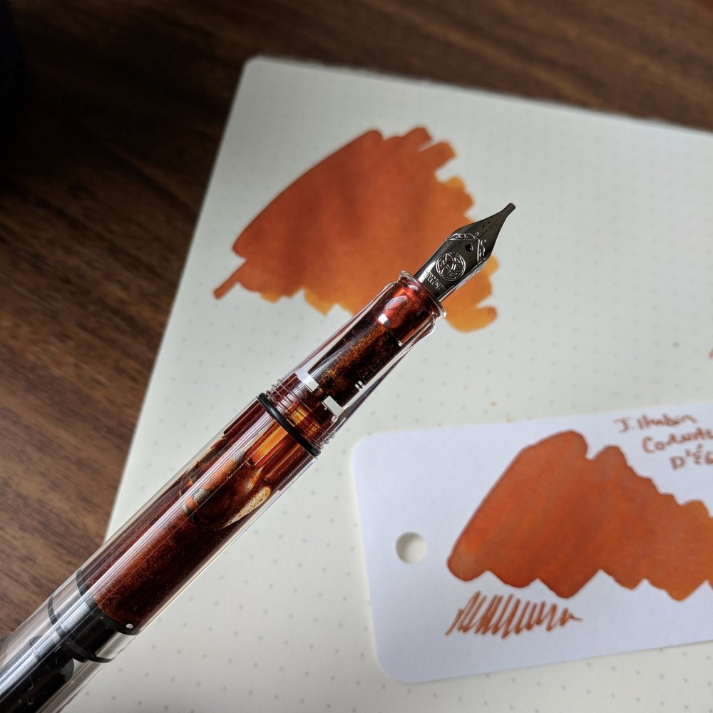 The Herbin shimmer inks always look amazing in clear pens, but it can also serve as a reminder to clean your pens well before swapping in a new ink, and not to let them sit too long!