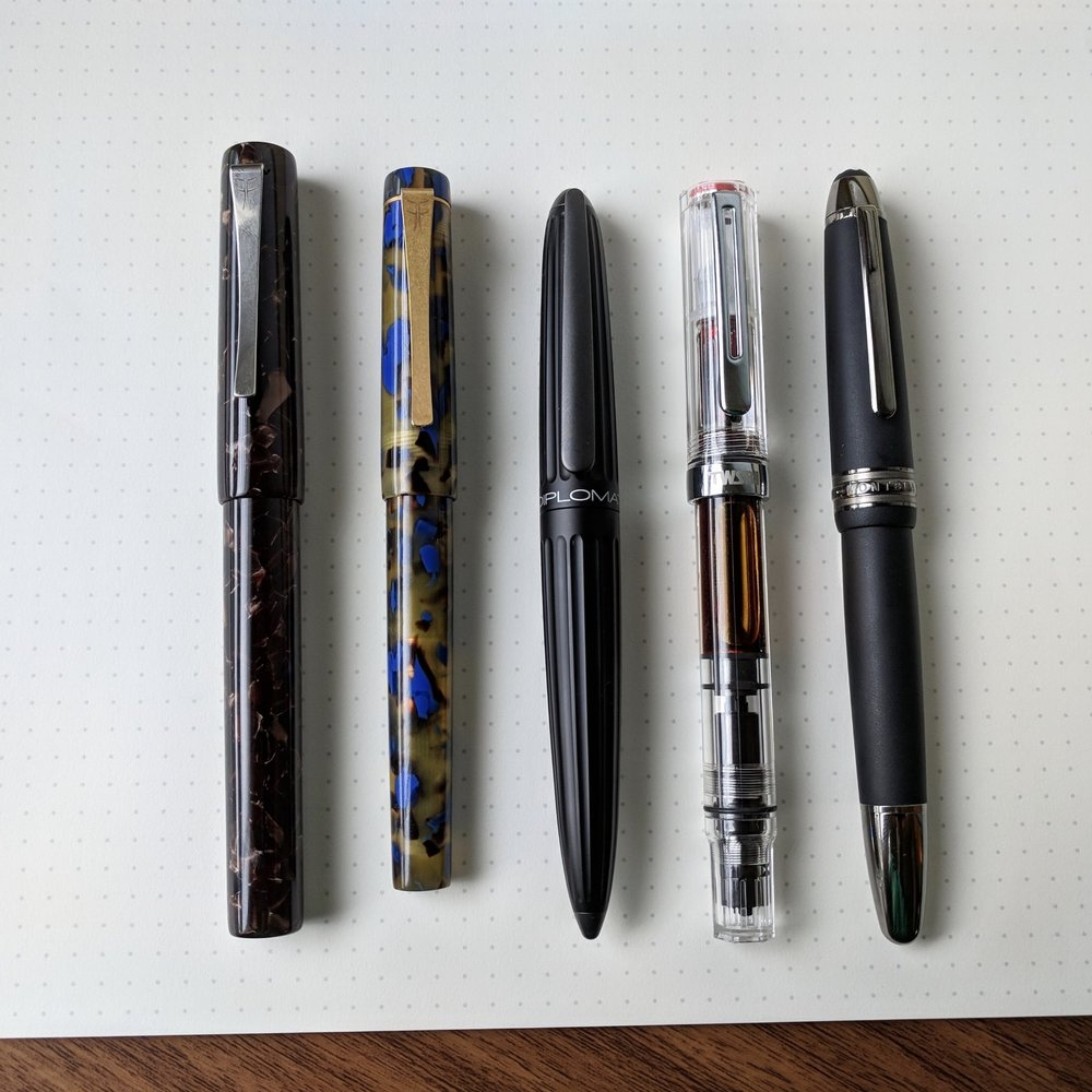 Size comparison, from left: Faggionato PKS, Faggionato Petrarque,  Diplomat Aero ,  TWSBI Eco , and  Montblanc 146 .