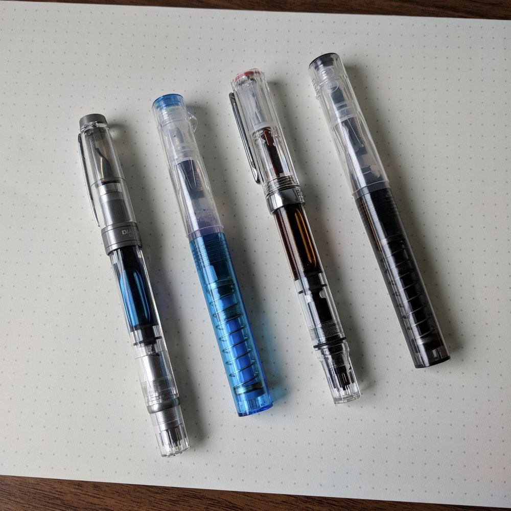 Two TWSBI Go pens compared against the  TWSBI 580ALR  (far left) and the TWSBI Eco (second from right).
