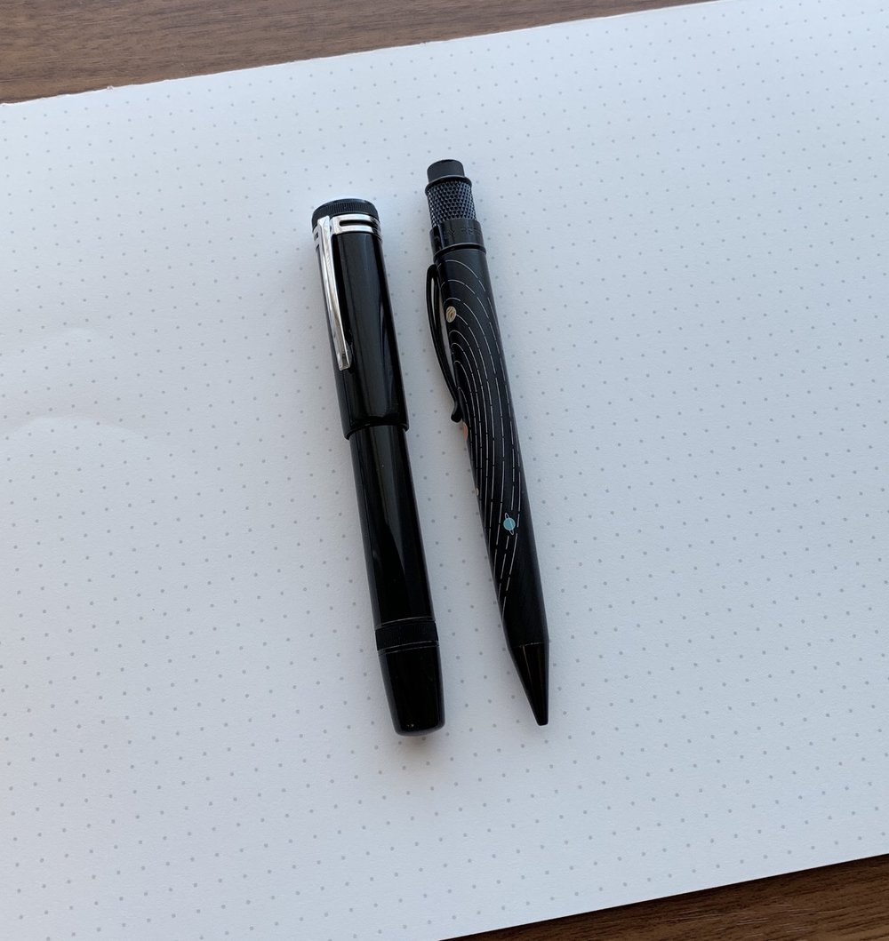 """A size comparison shot of the Montblanc Heritage 1912 against my recently acquired - and sharp looking -  Retro 51 """"The System"""" pencil  from Mike Dudek of the Clicky Post!"""