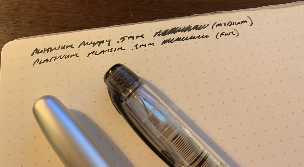 The .3mm (fine) nib is my favorite. I'm not a fan of stock Platinum black ink, as it can have a washed-out appearance.