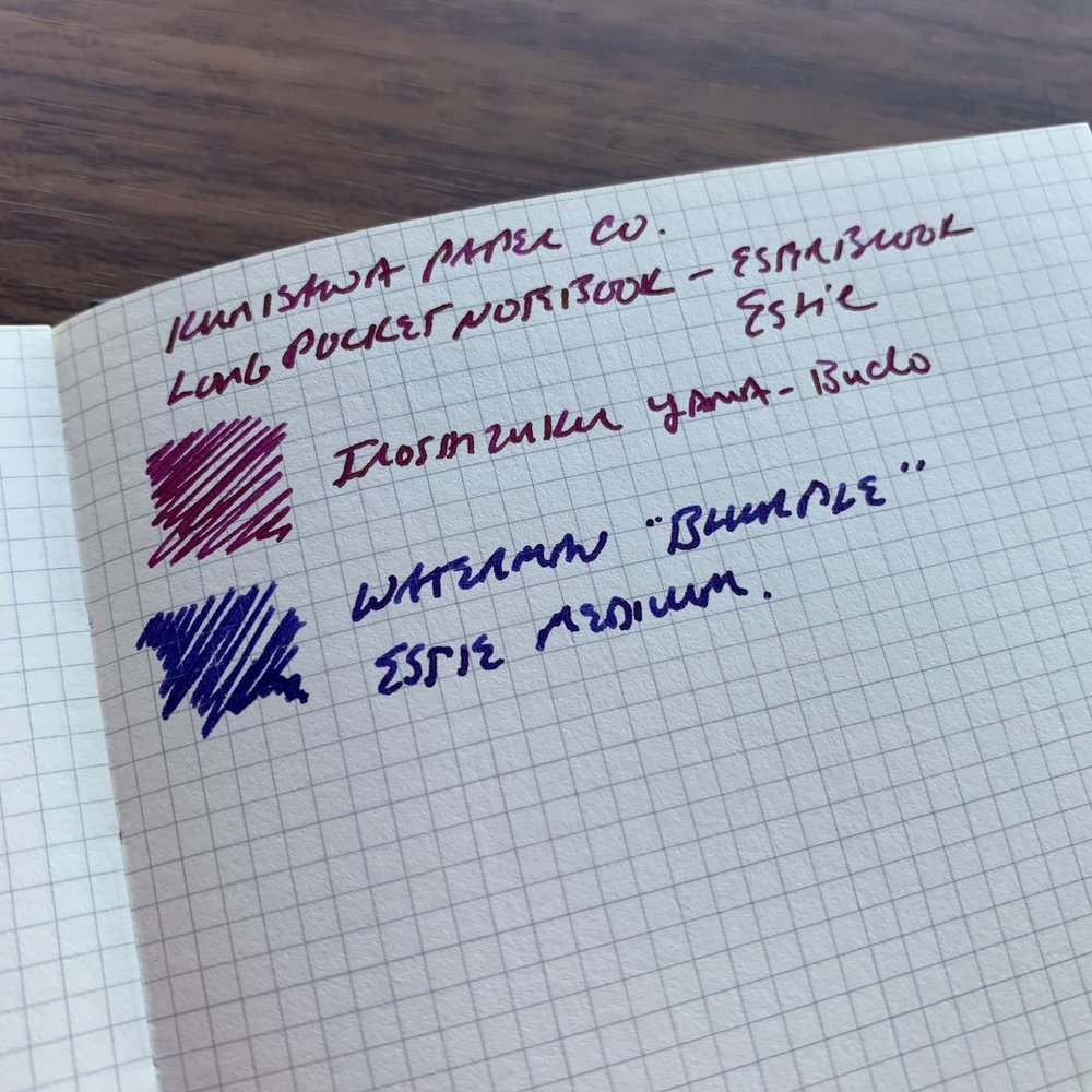 "A sample of Yama-Budo and a very wet mix of Waterman blue/purple (""Blurple"") on the Find Smart pocket notebook. You can tell from the texture that this is likely different paper."