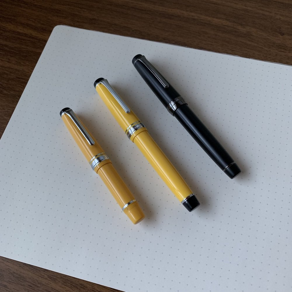 From Left: Sailor Sapporo Mini;  Sailor Pro Gear Color ; Sailor Pro Gear Imperial Black.