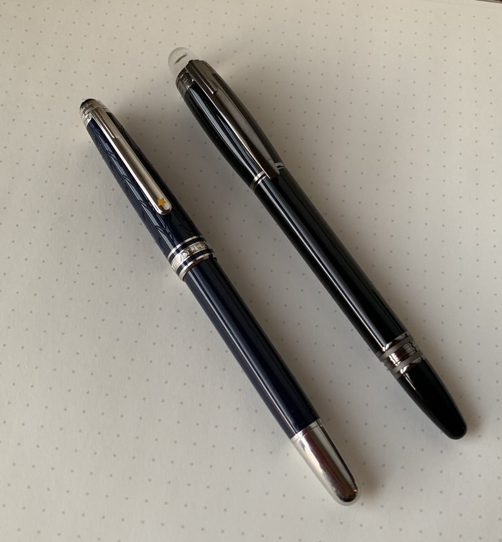 "Shown here compared against the Le Petit Prince Classique rollerball. The Starwalker is a larger pen, sitting between the Classique and the 146, but it's still slender enough for me to characterize it as ""slim."""