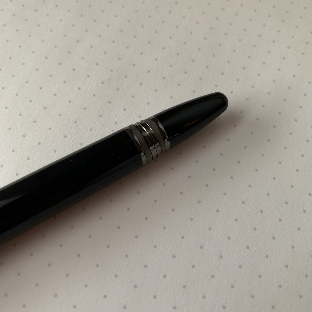 "Even the threading on the back of the barrel is ruthenium-plated, with the same texture as on the cap band of my  Montblanc 146 ""Ultra Black."""