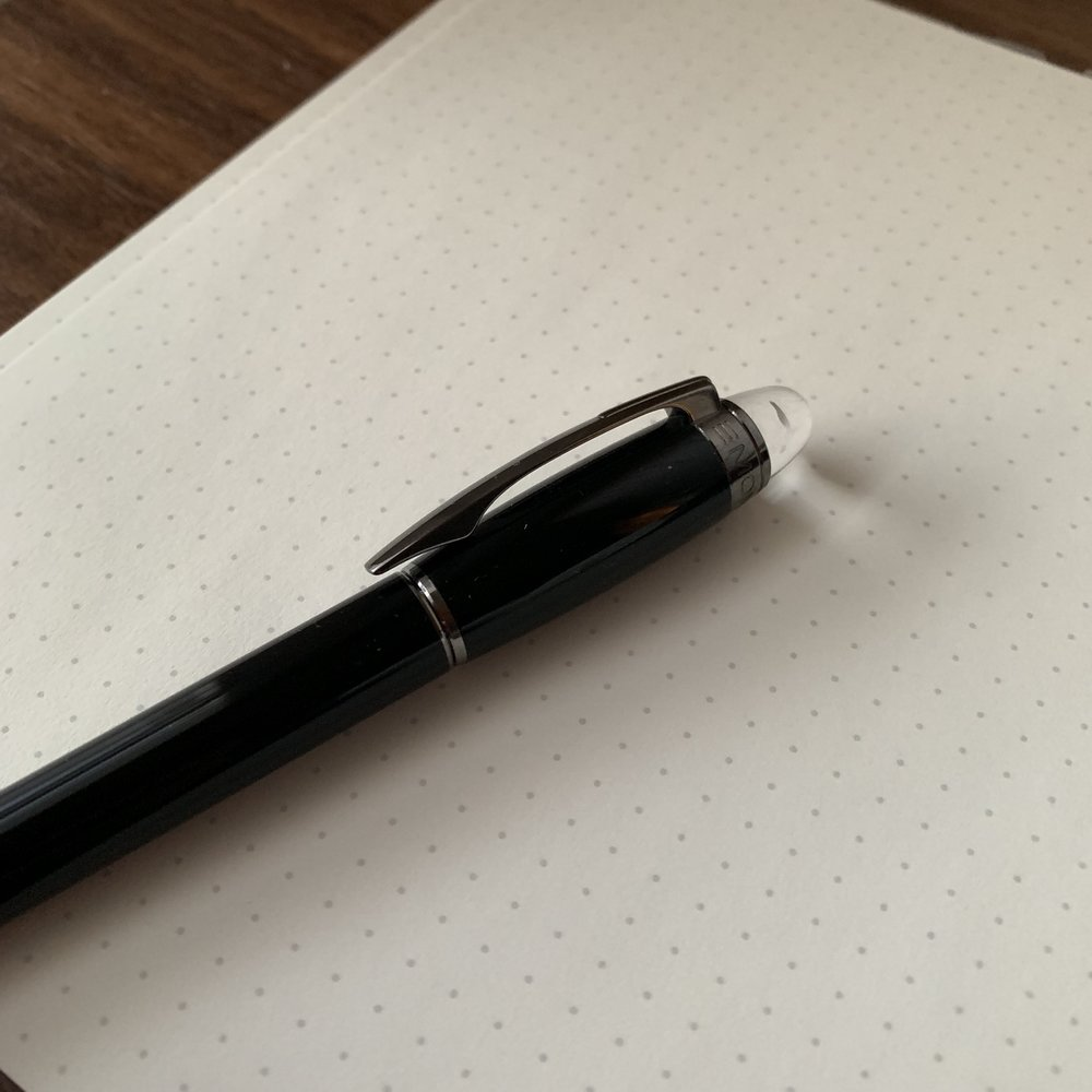 "Montblanc also incorporated a different clip design into the Starwalker - it's arched rather than flat, and the clip is longer than the cap. ""Montblanc"" is also engraved around the top, just below the acrylic dome."
