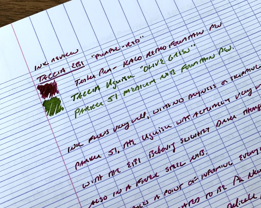 Writing sample on  Clairefontaine French Ruled A5 notebook . The tester pen for the Ebi was a  KACO Retro , and a Parker 51 for the Uguisu.