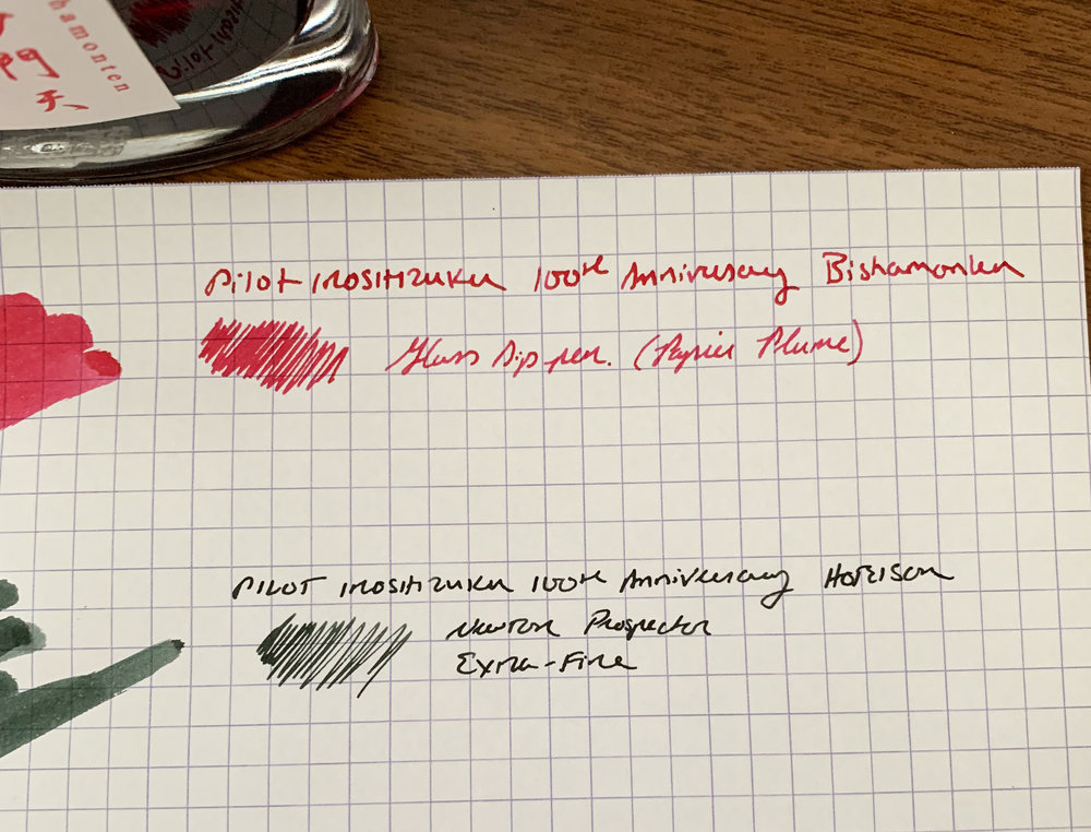 Both colors are fairly saturated. They won't appear washed-out. Like all Iroshizuku inks, Hoteison and Bishamonten are low-maintenance inks that don't bleed or feather on most decent paper. (I'd still caution that Bishamonten, as a red ink, will have the potential to stain certain light-colored, porous, or transparent materials.)