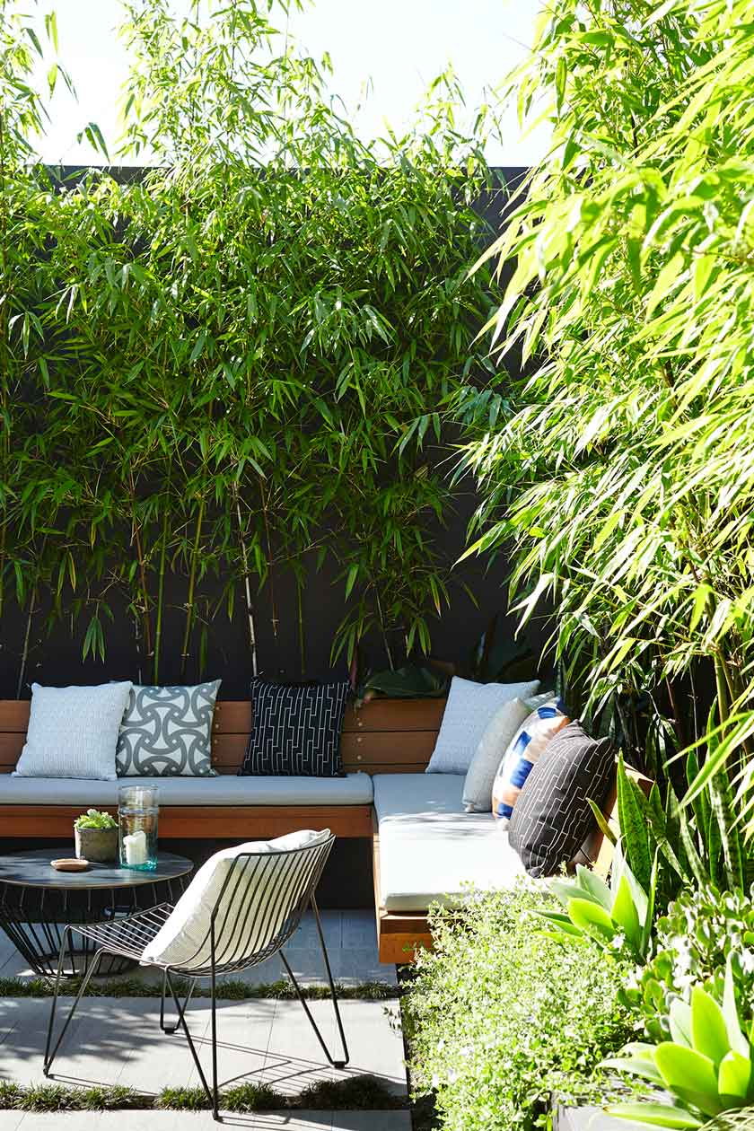 7. Create a feeling of an oasis by adding a wall of planting and back your seating with a garden bed