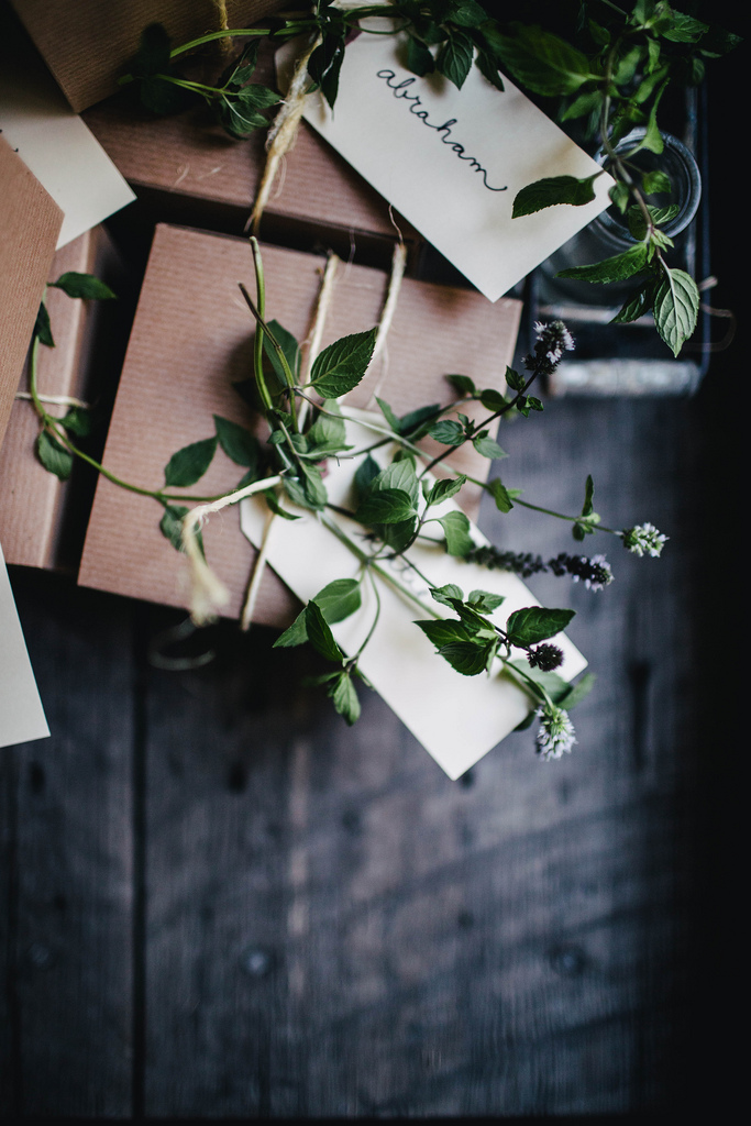 creative gift wrap with greenery