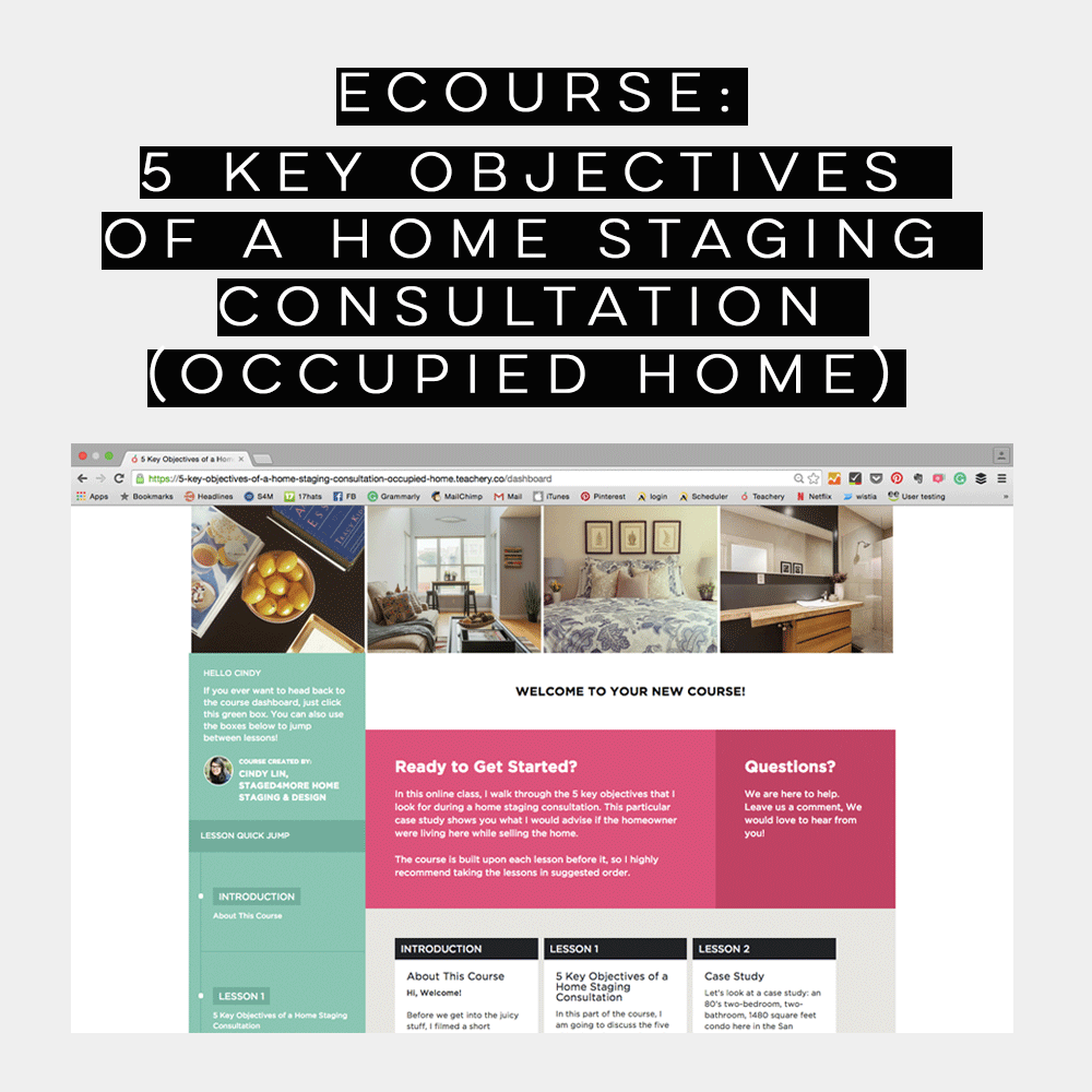 ECOURSE: 5 Key Objectives of a Home Staging consultation (Occupied Home)
