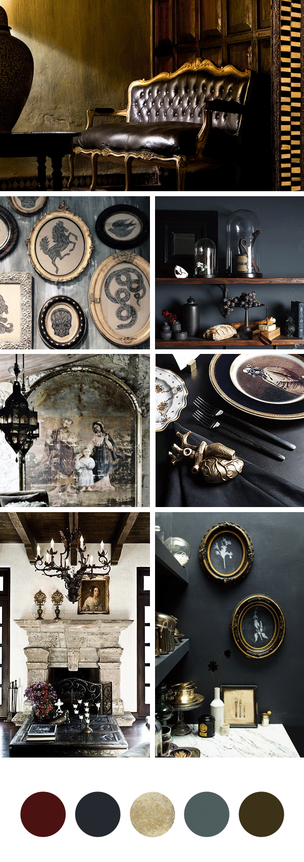Gothic Halloween Dinner Party Mood Board // How to Do A Spooktastic and Elegant Halloween Dinner Party // Staged4more Home Staging & Design