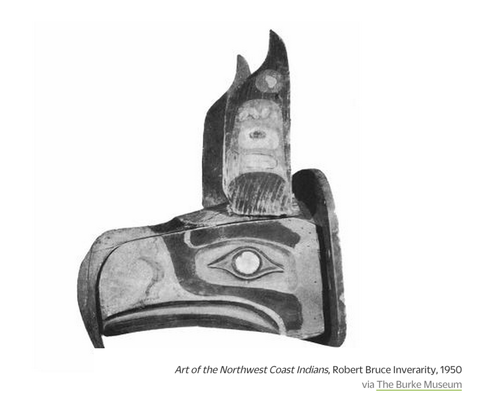 "Long before the northwest corner of Washington state was settled, it was inhabited by Native American tribes, including the Tlingit, Haida, Tsimshian and Kwakwaka'wakw tribes, who roamed as far up as Alaska, and whose impact upon the design aesthetic of the Pacific Northwest (thanks to their masks and totem poles) has  continued to this day .  The Seahawks name was the result of a popular vote. In 1975, Seattleites submitted 1,741 different suggestions for the name of their new NFL team, including the ""Cool Dudes,"" the ""Bumber Shoots,"" and the ""Space Needlers."" But when the Seahawks found their name, the NFL looked to the design heritage of the Pacific Northwest for inspiration for a logo, as reported by the Northwest Indian News in September 1975:   More info Here:"