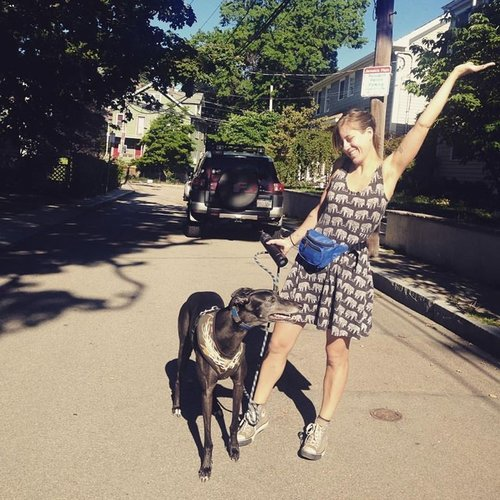"""Zoe    Head Dog Trainer   Zoe has been with Boston Fetch since August 2015. She's a JP native and was actually terrified of dogs as a child! She knew where every dog in the neighborhood lived and would avoid them all. Then one fateful day her mother sat her down and said """"face licks are kisses, you know that right?"""" That changed everything. Zoe is a graduate of Victoria Stilwell's Dog Training Academy, and is a full-time behaviorist at the Animal Rescue League of Boston.  Zoe has been working with Boston Fetch since  2015 .  Zoe completed  1,201  walks and training sessions in 2017."""