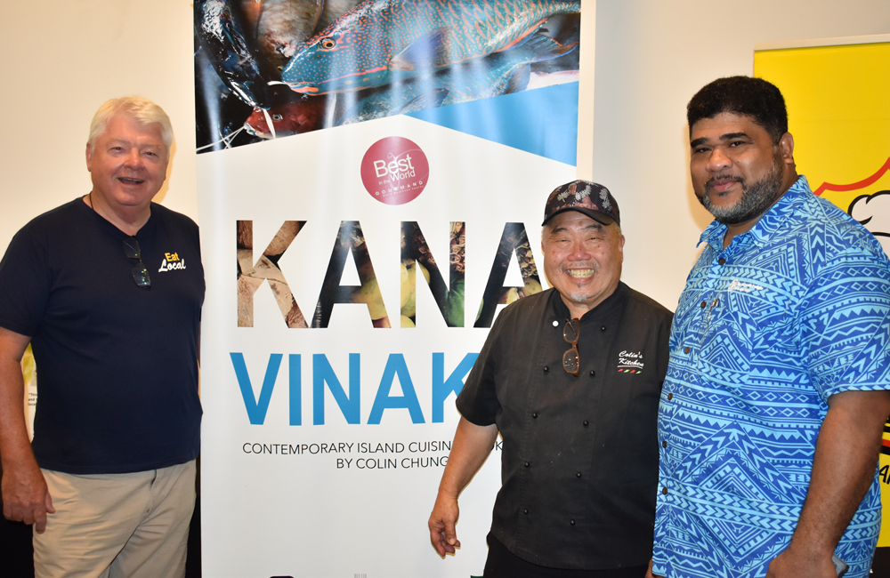 Greg and Colin in Fiji with David Kolitagane, the Permanent Secretary for the Ministry of Agriculture