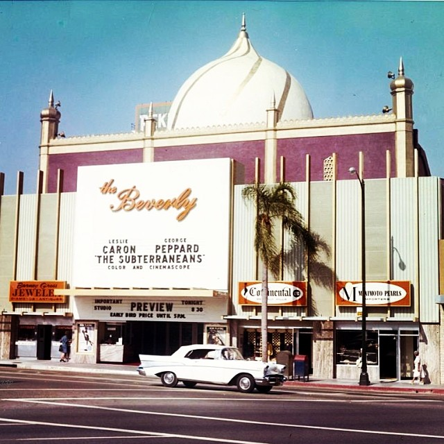 The Beverly Theatre on North Beverly Drive after its mid-century remodel c.1960.  It was purple and gold!  Unfortunately it was razed to the ground in 2005, not long after Elinor Quinlan passed away...her father Dan built the theatre.  #beverlyhillsheritage #historictheatres #beverlyhills #beverlytheatre