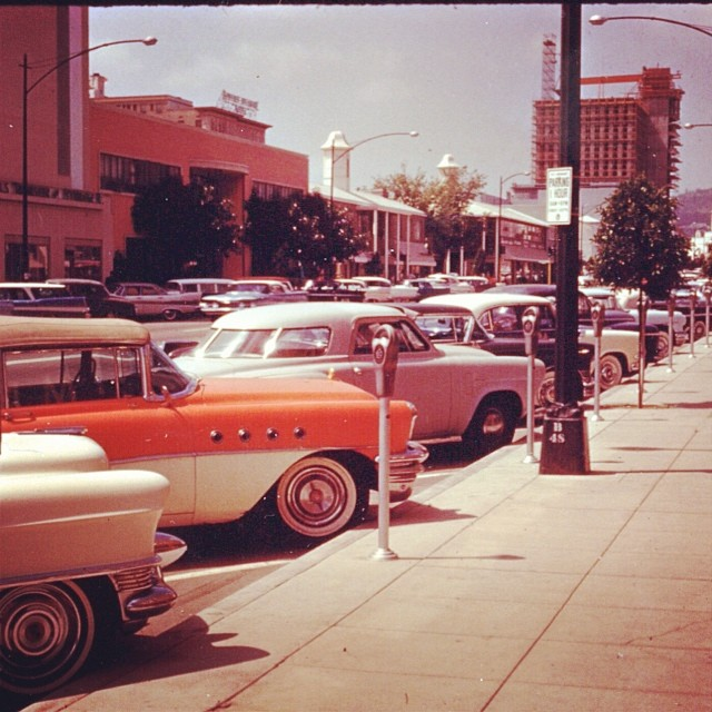 A glorious look at South Beverly Drive, facing North, in the 50s.  Check out the cars!!!