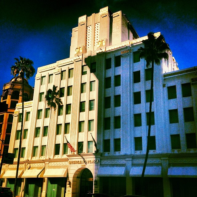 The California Bank Building, now known as Sterling Plaza, is an Art Deco wonder that still graces Wilshire Blvd at Beverly Drive.  Once the office of Louis B. Mayer, it has a movie theatre at the top that nary another person knows about!