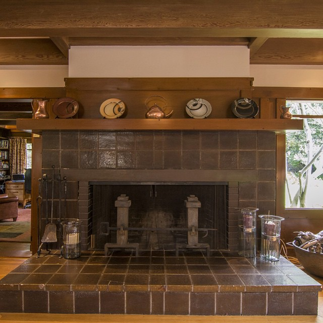 Living room fireplace detail. Greene and Greene, archs. Built 1909, relocated 1923. Come see it tomorrow! www.beverlyhillsheritage.org Photo by Marco Franchina www.marcofranchina.com #HistoricPreservation #realestate #architecture #BeverlyHills