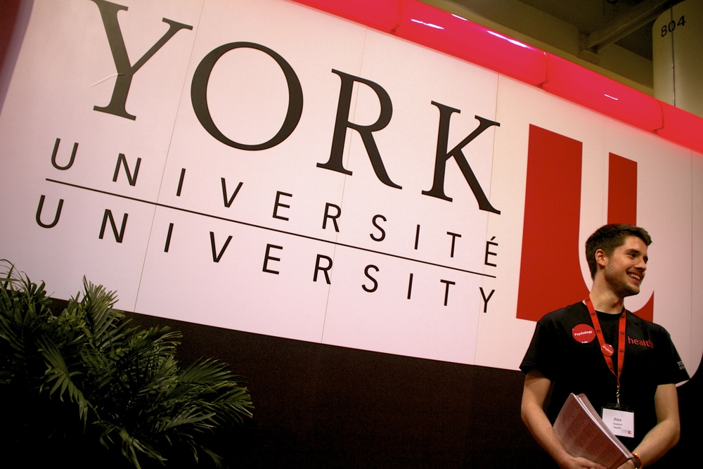At the 2014 Ontario University Fair  (OUF)  volunteering as a  (SHAY)  Student Health Ambassador for the York University Psychology Program