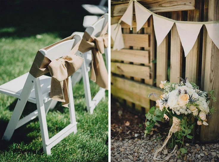 Burlap bows for the chairs and the Bride's bouquet